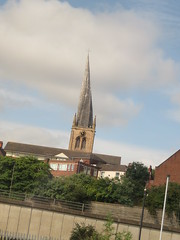 Sheffield (cag2012) Tags: england greatbritain unitedkingdom sheffield spire crookedspire church fromtrain