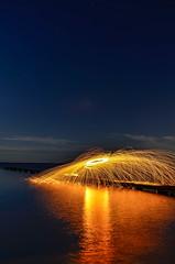 Arc's n Sparks (jonnyfixedgear) Tags: night unsalted nikiond7000 racine stars 3rdcoast shooppark moonrise lakemichigan