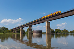 Spiro, Oklahoma (Wheeling West End) Tags: kcs kansas city southern 1 south spiro ok oklahoma steel bridge arkansas river f9a f9 f9b ocs passenger train