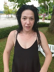 Nina - mad hair day:) (sean and nina) Tags: nina beauty beautiful gorgeous stunning cute charm charming woman female girl lady girlfriend fiancee wife married happy candid public bathing suit swimming costume black brunette tan skin arms legs shoulders feet bare pink lips brown eyes diamond necklace tuhelj spa resport holiday vacation serb croatia hrvatska balkan balkans eu europe european outdoor outside natural nature green park hot summer july 2019 heat wet warm