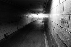 Light at the End of the Tunnel (Eric Tischler) Tags: tunnel underground huntington beach bay village bw
