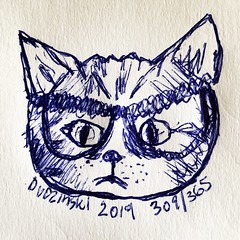 309/365 09/14/19 Cat in Glasses (Lainey1) Tags: elainedudzinski lainey1 365 doodle art sketch draw sketchoff girlzsketchy illustration abstract sketching drawing artist sketchbook graphics womensketchshit doodles doodling popart sharpies watercolor cat kitten kitty glasses catinglasses pet 091419 309 309365