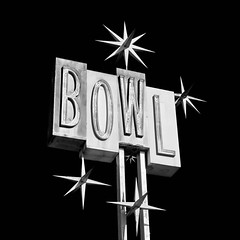 bowl. santa fe springs, ca. 2013. (eyetwist) Tags: eyetwistkevinballuff eyetwist bowl sign neon googie sputnilks santafesprings nikkor nikon d7000 nikond7000 18200mmf3556gvrii square bw black white monochrome blackwhite processed postprocessed plugin alienskinexposure niksilverefex contrast americana roadsideamerica weathered type typography typographic classic vintage bowling alley sputnik jetsons california retro losangeles angeleno los angeles la socal graphic font signage urban lanes closed architecture strike gutter premierelanes valleyrelicsmuseum famous iconic whittier saved gone