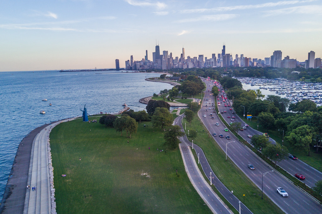 The Chicago Skyline and Lake Shore Drive.