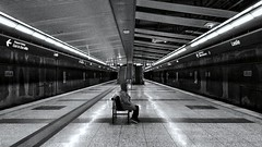 Waiting by yourself (Czar Hey) Tags: subway streetphotography blackandwhite lonesome woman subwaystation ttc toronto lesliestation urban city citylifephotography smartphonephotography