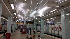 Hötorget station with 60s-style illumination (VicunaR) Tags: sweden sverige schweden stockholm metro tbane ubahn ubahnhof station hötorget greenline tunnelbane