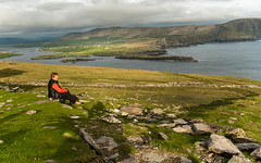 Mountain Top VIews (Eyes Open To Life) Tags: landscape ocean inlet mountains person hiker clouds heavyclouds nature ireland coast coastline green fields rocky outdoors outside