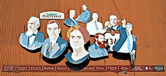 9 prominent people from Platteville's past. (Cragin Spring) Tags: wisconsin wi midwest unitedstates usa unitedstatesofamerica southwestwisconsin platteville plattevillewi plattevillewisconsin mural greggard walterpayton