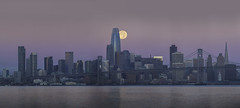 Harvest Moonset over San Francisco (Omnitrigger) Tags: sanfrancisco moonset moon fullmoon bayarea landscape panorama alignment dawn morning pink glow