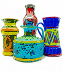 vases 1a abstracted (Hood Ornaments) Tags: italy vase pottery abstract colorful multicolored