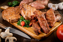 Country Style Ribs and Sliced Pork Steaks - Styled (jesmo5) Tags: food styled stylizedfood tabletop bbq cooked countryrib countryribs delicious garlic grilled highkey ingredients isolated knife market mushrooms peppers pork porksteak porksteaks potatos ribs spice spices steak sweetpotatoes tomato