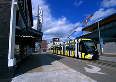Eating crow in Kansas City (Jeff Carlson_82) Tags: michaelsfineclothing kansascity mo missouri streetcar transit publictransportation 803 caf urbos urban art artintheloop melvin monarch caterpillar tram