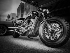 BOBBER (Dave GRR) Tags: indian scout bobber motorcycle bike superbike cruiser monochrome mono chrome black white cars coffee toronto show olympus