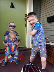 First day of school 2019 (quinn.anya) Tags: paul toddler sam eliza firstdayofschool preschooler kindergartener sunglasses posing mario