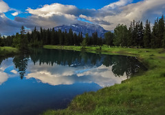 Cascade pond (Robert Grove 2) Tags: banff canada reflection summer mountain alberta landscape nature green blue calm beautiful