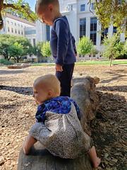 Looking down (quinn.anya) Tags: paul eliza toddler preschooler log standing ucberkeley