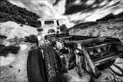 Ils ont dit que les pneus étaient lisses... / They said that the truck tires are worn... (vedebe) Tags: bw monochrome noiretblanc decay nb camion pneus abandonné roues casser netb urbex