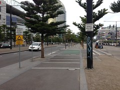 Capital City Trail driveway crossing, Docklands (philip.mallis) Tags: docklands sign safety capitalcitytrail bicyclepath