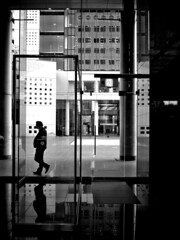 Frames (明遊快) Tags: window bw architecture monochrome reflections building contrast sunlight shadows silhouette japan osaka