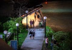Chicago Riverwalk (Wes Iversen) Tags: chicago chicagoriver chicagoriverwalk dusablebridge hss illinois nikkor18300mm sliderssunday boardwalks bridges men painterly people sidewalks signs streetlamps streetlights women