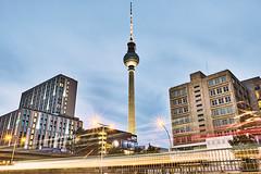 Television Tower, Berlin (stefanobosia) Tags: berlin berlino televisiontower tower alexanderplatz landscape night city città germany paesaggio notturno building buildigs lights