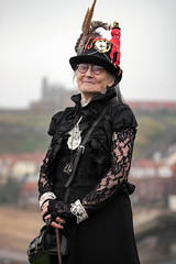 Portrait from the Whitby Steampunk Weekend VI (Gordon.A) Tags: whitby yorkshire england uk whitbysteampunkweekend wsw vi steampunk convivial festival event culture subculture style lifestyle creative costume costumes hat design lady woman female people face model pose posed posing outdoor outdoors outside naturallight colour colours color colors amateur portrait portraiture photography digital canon eos 750d sigma sigma50100mmf18dc