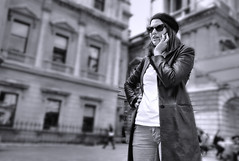 Girl on phone (millwall.rl) Tags: girl phone monochrome acros fuji xt2 city building outdoors beret leather coat standing one person