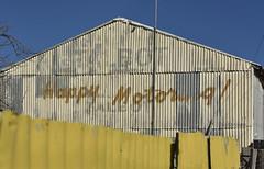 Talbot VIC  [EXPLORED] (phunnyfotos) Tags: phunnyfotos australia victoria vic centralvictoria talbot corrugatediron corrugated servo garage servicestation gasstation fuelstation yellow fence sign ghostsign roadtrip sentiment countrytown rural country town motoring travel nikon oldsign happymotoring