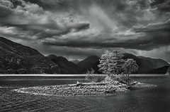 Howe Sound (martincarlisle) Tags: howesound britishcolumbia canada seatoskyhighway highway99 fjords inlets northamericassouthernmostfjord water island trees mountains clouds rainstorm blackandwhite monochrome captureonepro12 tkactions7