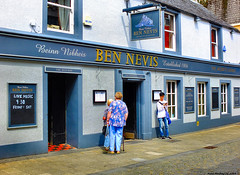 Scotland Central Highlands Fort William the Ben Nevis pub a popular place for touists to eat but I did not like it 29 June 2019 by Anne MacKay (Anne MacKay images of interest & wonder) Tags: scotland central highlands fort william ben nevis pub street people building 29 june 2019 picture by anne mackay
