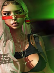 Enzime (•Poemoana Morales•) Tags: life red green girl digital underground grunge sl secondlife second backdrop pixels black earings fashion shirt photography photo blond photograph gangsta swag on