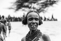 Dassanech Tribe (Rod Waddington) Tags: africa african afrique afrika kenya kenyan dassanech traditional tribe tribal village woman group blackandwhite mono monochrome tree beads ethnic ethnicity minority omovalley omo omoriver