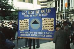 2/25th Banner taken at the 50 year anniversary on Anzac day in Brisbane, Qld -  March 1995 (Aussie~mobs) Tags: brisbane queensland australia 1995 anzacday banner march 25thbattalion aif 225battalion