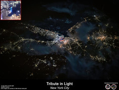 Tribute in Light - New York City (RikyUnreal) Tags: iss expedition60 usa