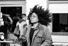 Grassmarket, Edinburgh (Cycling-Road-Hog) Tags: candid canoneos750d citylife edinburgh edinburghstreetphotography grassmarket hairstyle phone places scotland street streetphotography streetportrait style urban bighair