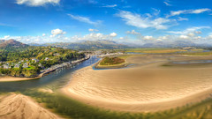 Approach to Porthmadog over the Estuary (Catchavista) Tags: porthmadog northwales panorama aerialphotography borthygest harbour sea sand clouds marina moorings yachts powerboats river estuary snowdonia mountains hills aerialview aeriallandscape catchavista catchavistaaerial dronephotography