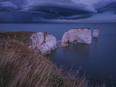 never let a cloudy day spoil your day (Wizard CG) Tags: beautiful coast cliffs colour color clouds sun set path chalk dorset dawn england famous golden hour geology horizon iconic jurassic landscape long exposure limestone natural old harry rocks purbecks south west sea seascape sky sunrise tide epl7 unesco world heritage site sunset water ocean rock