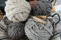Large balls of wool and needles (D70) Tags: large balls wool needles spot spinners hands top middle photo see just how this yarn is penticton britishcolumbia canada sheep supersized