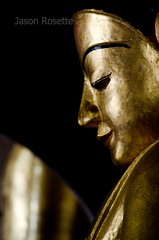 Close up profile of golden Buddha figure in dark temple