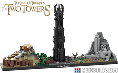 Lego The Lord of the Rings: The Two Towers Skyline (BenBuildsLego) Tags: lord rings lotr skyline architecture lego micro cool design instructions two towers sauron gandalf frodo aragorn helms deep orthanc edoras new zealand movie movies benbuildslego dead marshes nature awesome brick bricks bricklink studio digital render 3d legos