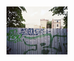 Riga (ha*voc) Tags: mamiya7ii 43mm rangefinder film 120 mediumformat 6x7 kodakektar100 urban urbanabstraction riga latvia graffiti mundane silence empty