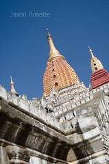 View of Three Spires on Temple Complex in Bagan, Myanmar (close up)