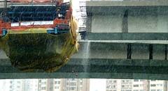 Bridge Construction Waterfall in Rain, Aberdeen, Hong Kong (Joseph Hollick) Tags: aberdeen rain waterfall bridge construction hongkong