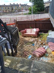 (Chris Hester) Tags: 374 brighouse train station sofa flytipping