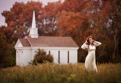 Scarlett ({jessica drossin}) Tags: jessicadrossin woman wwwjessicadrossincom trees church grass fall autumn hair profile