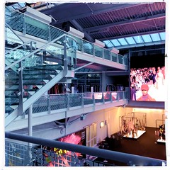 Munich Fabric Start 2019 (Casey Hugelfink) Tags: munich münchen munichfabricstart munichfabricstart2019 moc fairtrade messe fabrics stoffe fashion mode catwalk stairs video screen commercial models ceiling balustrade