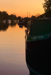 Home is where you moore it. (simoncoram) Tags: cloud weekend holiday home reflection bedtime late night dusk evening red sunset sky water narrowboat crt canalandrivertrust canal sharpnessgloucestercanal