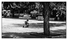 Futur maillot jaune!!! (francis_bellin) Tags: photo olympus andalousie streetphoto street bwphoto netb photoderue jeux tricycle blackandwhite noiretblanc monochrome nb photographederue ombres rue bw espagne 2019 blackandwhitephoto málaga