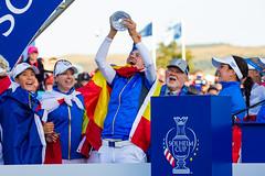 Carlota Ciganda of Spain holds The Solheim Cup aloft (Ladies European Tour) Tags: cigandacarlotaesp auchterader perthshire scotland