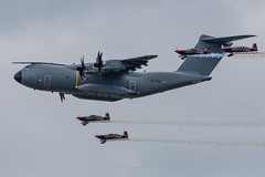 Airbus A400M Flypast with The Blades (Mark_Aviation) Tags: airbus military a400m ec400 a400 grizzly atlas flypast with the blades aerobatic team cargo transport multi role propeller large heavy riat 2019 riat19 royal international air tattoo egva ffd raf fairford